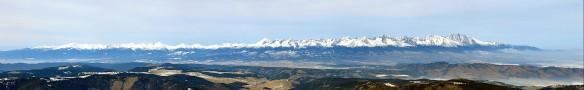 Zimná panoráma Západných a Vysokých Tatier